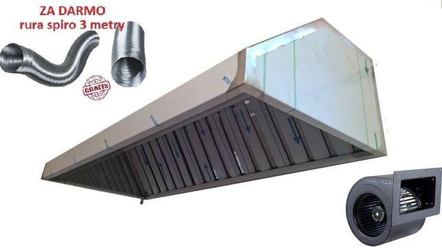 Okap gastronomiczny 100x70x40 filtry turbina RURA NOWY wysyłka