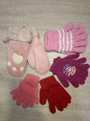 Rękawiczki dziecięce dla dziewczynki zestaw 5 par