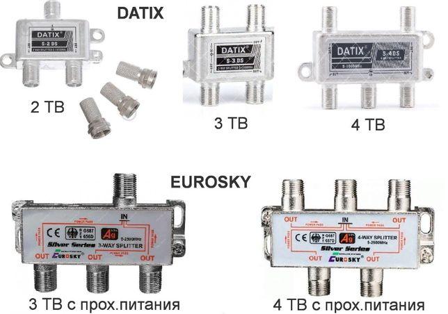Сплиттер DATIX 2-ТВ / 3-ТВ / 4-ТВ / Eurosky с проходом питания 3-4 ТВ
