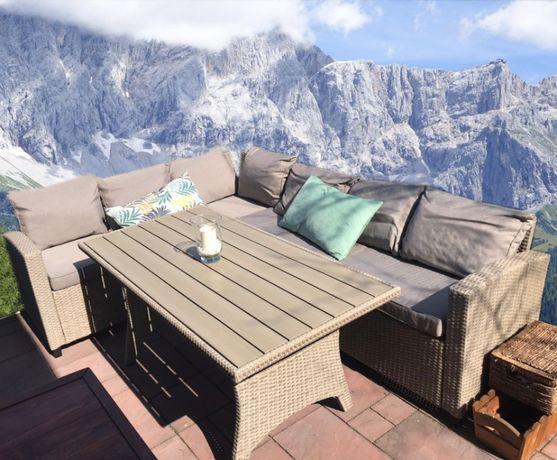 nowy narożnik ze stołem do ogrodu MEBLE OGRODOWE technorattan sofa