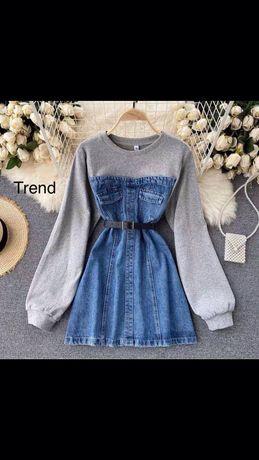 Платье джинсовое с тканевым верхом