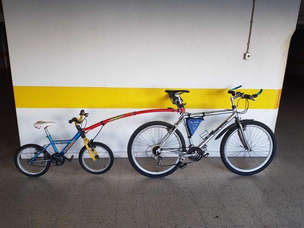Bicicletas BTT (1 adulto + 1 criança + braço telescópico/atrelado)