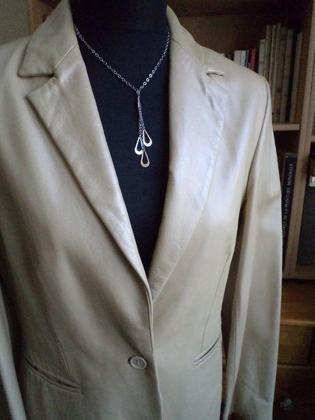 Perłowa skórzana kurteczka-marynarka r.38 (styl simple) TAIFUN