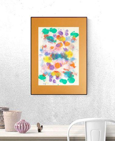 kolorowa grafika na scianę, nowoczesny rysunek do loftu, abstrakcja a3
