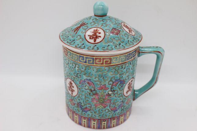 Caneca Verde com Tampa Porcelana Chinesa Zhongguo Jingdezhen XX