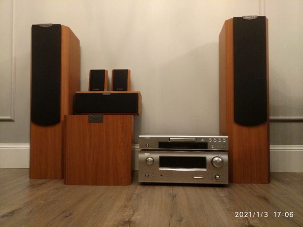 Kino domowe głośniki Wharfedale VARDUS VR-300 amplituer DENON 1509