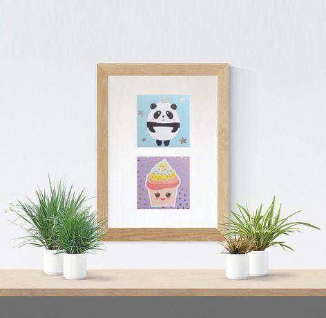 panda plakat dla dzieci, ciastko plakat na ścianę, pastelowy obrazek