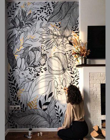 Художественная роспись стен  Рисунок на стене  Художник  Киев   Буча