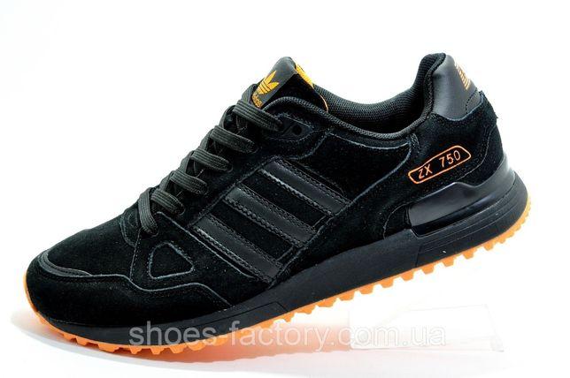 Мужские кроссовки Adidas ZX750, Чёрный/Оранжевый, купить
