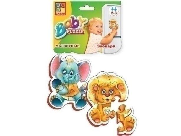 """Пазлы магнитные """"Зоопарк"""" набор 2 шт. (слоник+лев), пазлы для малышей"""