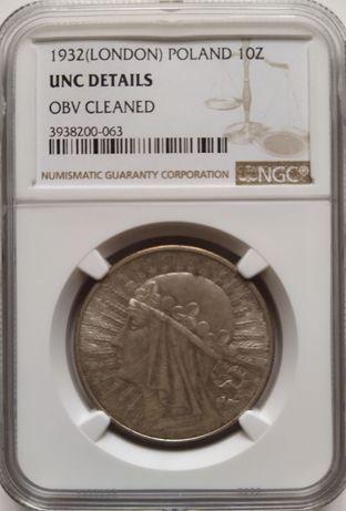 10 złotych 1932 - Głowa Kobiety - NGC UNC DETAILS
