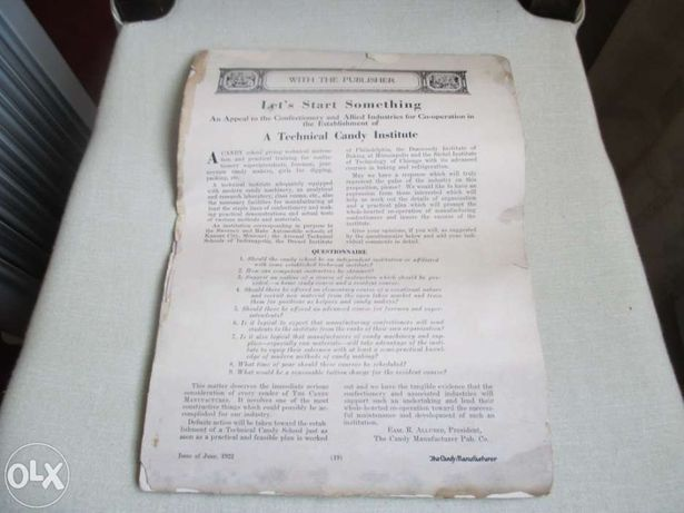 Revista americana de Jun/1922 The Candy Manufacturer
