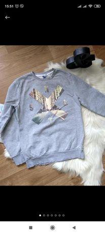 Свитшот толстовка свитер женский серый h &м на баечке с рисунком,р.м
