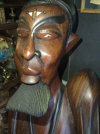 Grande Escultura em Madeira embutidos 170 cm altura Antiga