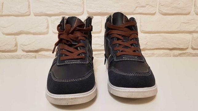 Nowe buty zimowe chłopięce, ES45, trzewik na suwak American Club.