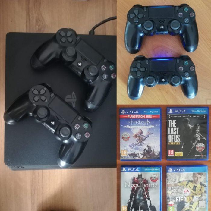 Konsola SONY PlayStation 4 Slim 500GB + 2 x Pad Dualshock + 4 gry Poznań - image 1