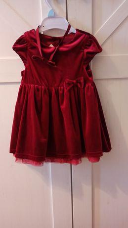 Sukienka welurowa H&M 80 bordowa