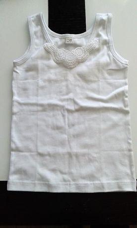 Dziewczęca biała podkoszulka na ramiączkach z haftem rozm. 134