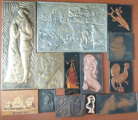Б у (под реставрацию) Чеканки, панно и резные изображения на дереве