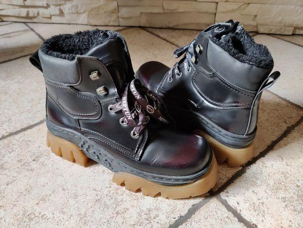 Buty zimowe, skórzane trapery rozmiar 38