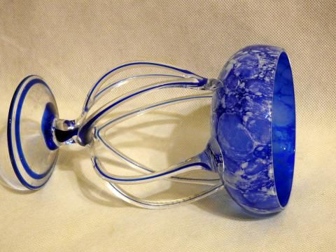 Szklana kobaltowa dekoracja w stylu Art Deco