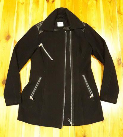 Vero moda ramoneska płaszcz wstawki skóra 38