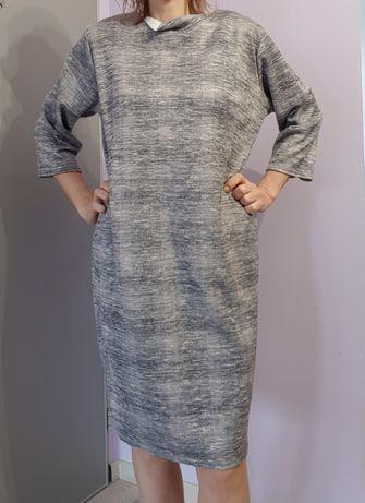 Przepiękna sukienka szara rozm ok 46