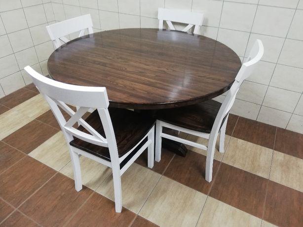 Stół okrągły rozkładany z drewna dębowego fi 110 + 3 x 45 + 4 krzesła