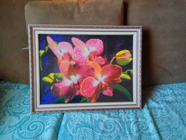 """Картина вышитая бисером """"Орхидея"""""""