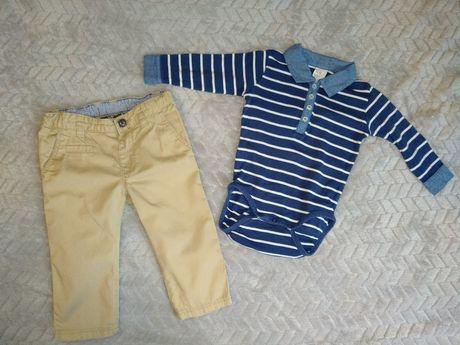 Zestaw/ kpl dla chłopca body + spodnie 74 H&M