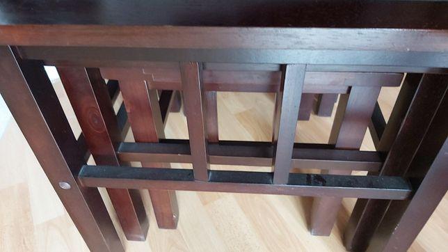 Antyczne kolekcjonerskie 3 stoliki egzotyczne drewno styl chiński