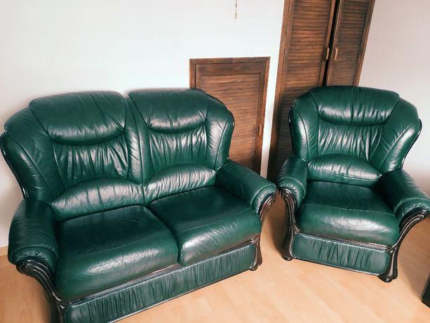 Zestaw Sofa plus Fotel - skóra