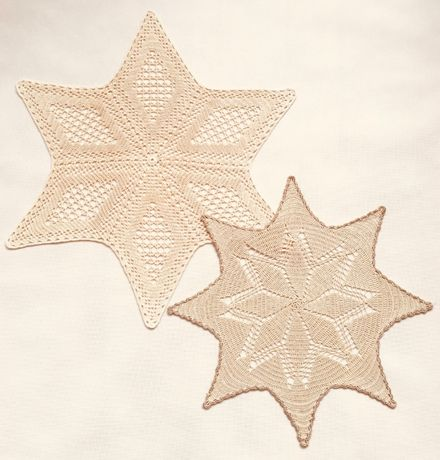 Gwiazda Boże Narodzenie serwetka szydełkowa na szydełku 57cm i 45cm
