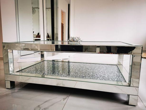 Stolik kawowy glamour lustrzany z kryształkami