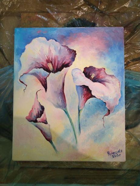 "Картина натюрморт ""Цветы"" маслом на холсте"