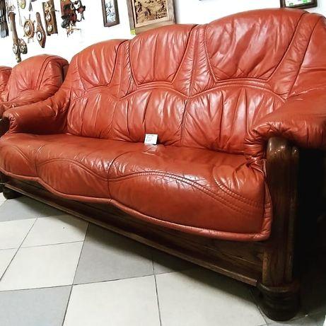 Диван с креслами, кожаная мебель
