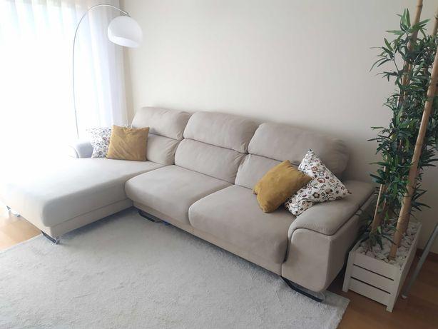 sofá Nobuck, chaise longue, 3 metros, NOVO