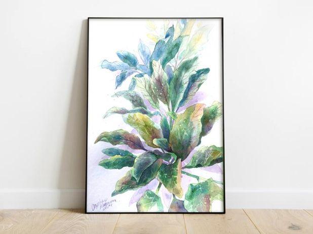 Интерьерная картина акварелью - Цветы листья , живопись, ручная работа