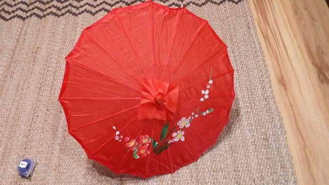 Przeciwsłoneczny, orientalny parasol drewniany jedwabny CZERWONY malow