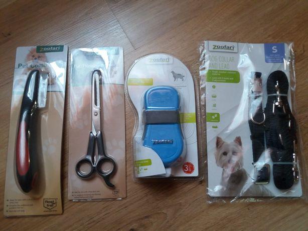 Akcesoria do psiej pielęgnacji,nożyczki, smycz, grzebień, szczotka