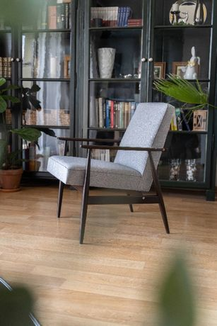 Fotel PRL typu 300-190, lisek, szary. H.Lis,
