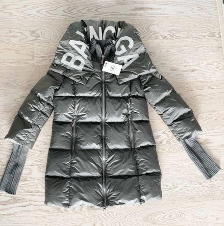Moncler kurtka puchowa długa płaszcz szara kołnierz M L XL