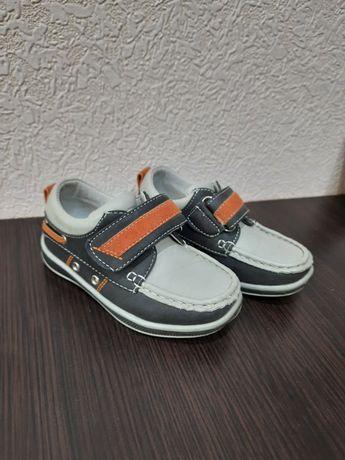 Детские туфли мокасины на липучке на мальчика 25 размер 15 см кожа