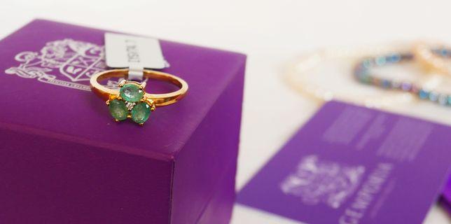 Nowy Złoty Pierścionek z kolekcji Jacque Christie - zielony Szmaragd