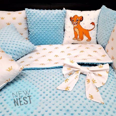 Бортики в кроватку, одеялко, простынь, подушки на 4 стороны, защита