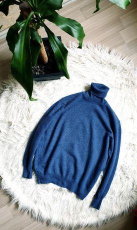Мужская итальянская шерстяная водолазка синяя