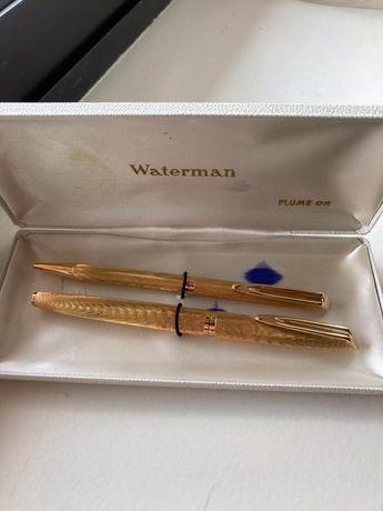 Waterman conjunto plaque ouro 18k  como novas