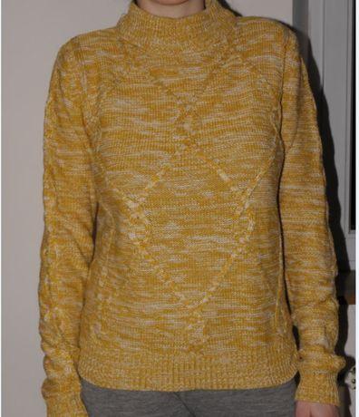 Wiosenny sweter damski PAPAYA rozmiar M wygodny miodowy