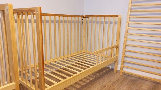 Łóżeczko drewniane 120x60 trzy poziomy wyciągane szczebelki