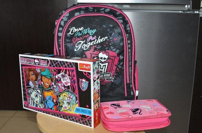 Plecak szkolny Monster High + puzzle + piórnik